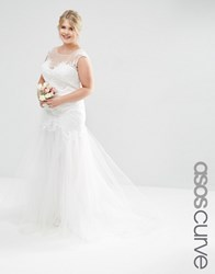 Asos Curve Bridal Princess Maxi Dress With Lace Bodice And Mesh Skirt White
