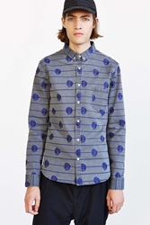 Oxford Lads Embroidered Chambray Button Down Shirt Grey