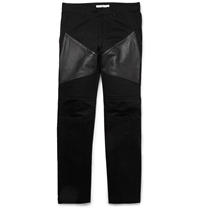 Givenchy Leather Trimmed Panelled Dry Denim Jeans Black