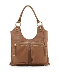 Lp By Linea Pelle Dylan Front Pocket Leather Tote Bag Coffee Bean