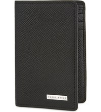 Hugo Boss Signature Leather Fold Over Cardholder Black