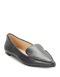 Karl Lagerfeld Destine Calf Hair Accented Leather Loafers Graphite