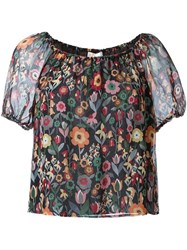 Red Valentino Floral Print Blouse Black