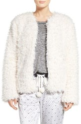 Kensie Women's Faux Fur Cardigan Just Nude