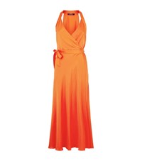 Polo Ralph Lauren Carlene Satin Wrap Dress Female Orange