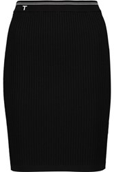 Alexander Wang T By Ribbed Stretch Jersey Mini Skirt Black