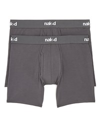 Naked Essential Stretch Cotton Boxer Briefs Pack Of 2 Charcoal