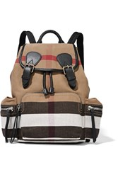 Burberry Medium Leather Trimmed Checked Canvas Backpack Brown