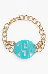 Women's Moon And Lola 'Annabel' Medium Personalized Monogram Bracelet Robins Egg Gold