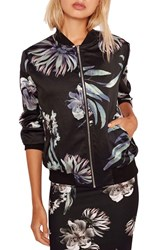 Missguided Women's Floral Satin Bomber Jacket