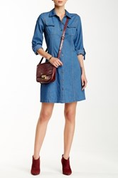 Blvd Long Sleeve Denim Shirt Dress Blue