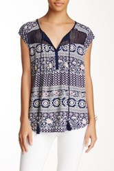 Daniel Rainn Novelty Split Neck Gauze Top Petite Blue