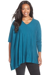 Sejour Asymmetrical Cotton Blend V Neck Poncho Plus Size Teal Ocean