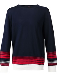 Massimo Piombo Striped Detail Sweater Blue