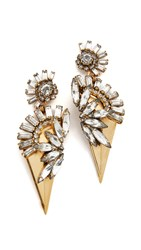 Elizabeth Cole Trident Earrings Golden Crystal