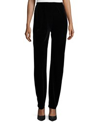 Caroline Rose Stretch Velvet Slim Pants Black