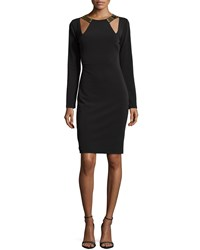 Halston Heritage Long Sleeve Fitted Dress With Cutouts Black