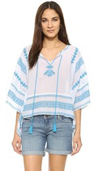 Star Mela Letti Embroidered Top White Turquoise