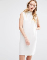 Native Youth High Neck Rib Knit Dress White