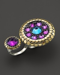 John Hardy 18K Gold And Sterling Silver Dot Two Finger Ring With Amethyst And Swiss Blue Topaz