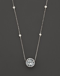Bloomingdale's Aquamarine And Diamond Halo Pendant Necklace With 4 Stations In 14K White Gold 16 Blue White