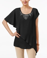 Ny Collection Embellished Asymmetrical Hem Top Black