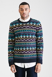 Forever 21 Geo Striped Sweater Navy Teal