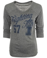 Royce Apparel Inc Women's Long Sleeve Illinois Fighting Illini Graphic T Shirt Gray
