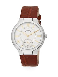 Philip Stein Teslar Round Chronograph Stainless Steel And Leather Watch Chocolate