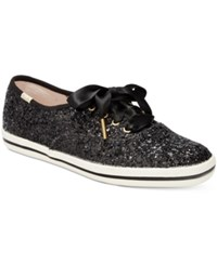 Kate Spade Keds For New York Glitter Lace Up Sneakers Women's Shoes Black