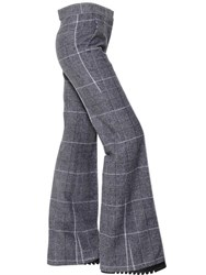Calvin Klein Plaid Wool Flared Trousers
