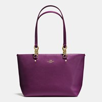 Coach Sophia Small Tote In Polished Pebble Leather Light Gold Plum