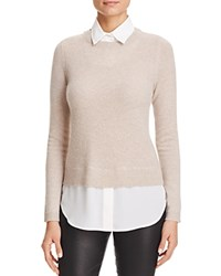 Bloomingdale's C By Layered Look Waffle Knit Cashmere Sweater Wicker White