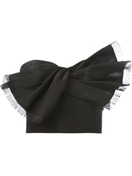 Oscar De La Renta Strapless Bow Ribbon Crop Top Black