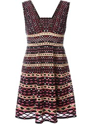 M Missoni Chevron Pattern Knitted Sleeveless Dress Black