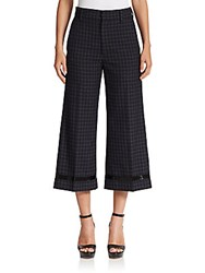 Marc Jacobs Beaded Worsted Wool Cropped Pants Black