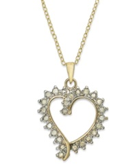 Victoria Townsend 18K Gold Over Sterling Silver Necklace Diamond Open Heart Pendant 1 4 Ct. T.W.