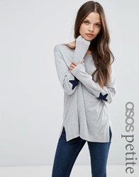 Asos Petite Jumper With Navy Star Elbow Patch Grey