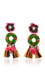 Ranjana Khan Fringed Floral Drop Earrings Multi