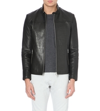 Reiss Gershwin Leather Jacket Black