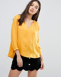 D.Ra Lucienne Collarless Blouse Mustard Yellow