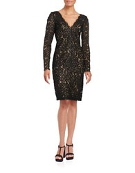 Vera Wang V Neck Lace Overlay Dress Black Nude