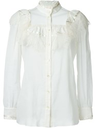 Saint Laurent Ruffle Detail Blouse White