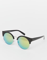Jeepers Peepers Pastel Mirror Round Sunglasses Black