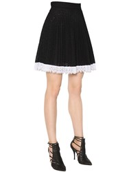 Antonio Berardi Pleated Cotton Blend Eyelet Lace Skirt
