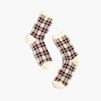 Madewell Plaid Trouser Socks Cabernet
