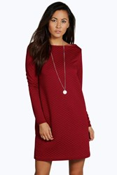 Boohoo Long Sleeve Oversized Shift Dress Berry