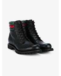 Gucci Ribbed Web Leather Worker Boots Black Green Red