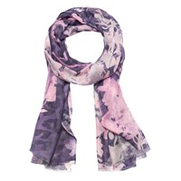 Lola Rose Orient Haze Floral Wool Blend Scarf Purple Pink