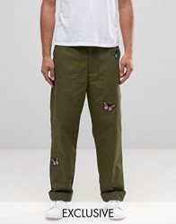 Reclaimed Vintage Military Trousers With Butterfly Patches Khaki Green